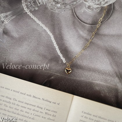 [Basic Series]  Heart with Pearl Gold Necklace